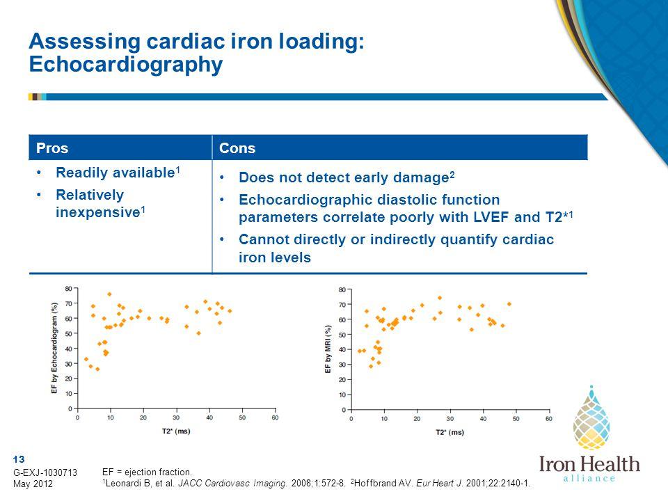 13 G-EXJ-1030713 May 2012 Assessing cardiac iron loading: Echocardiography EF = ejection fraction. 1 Leonardi B, et al. JACC Cardiovasc Imaging. 2008;