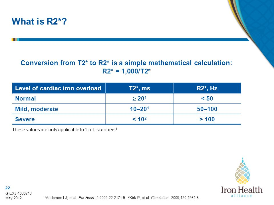 22 G-EXJ-1030713 May 2012 Conversion from T2* to R2* is a simple mathematical calculation: R2* = 1,000/T2* Level of cardiac iron overloadT2*, msR2*, H