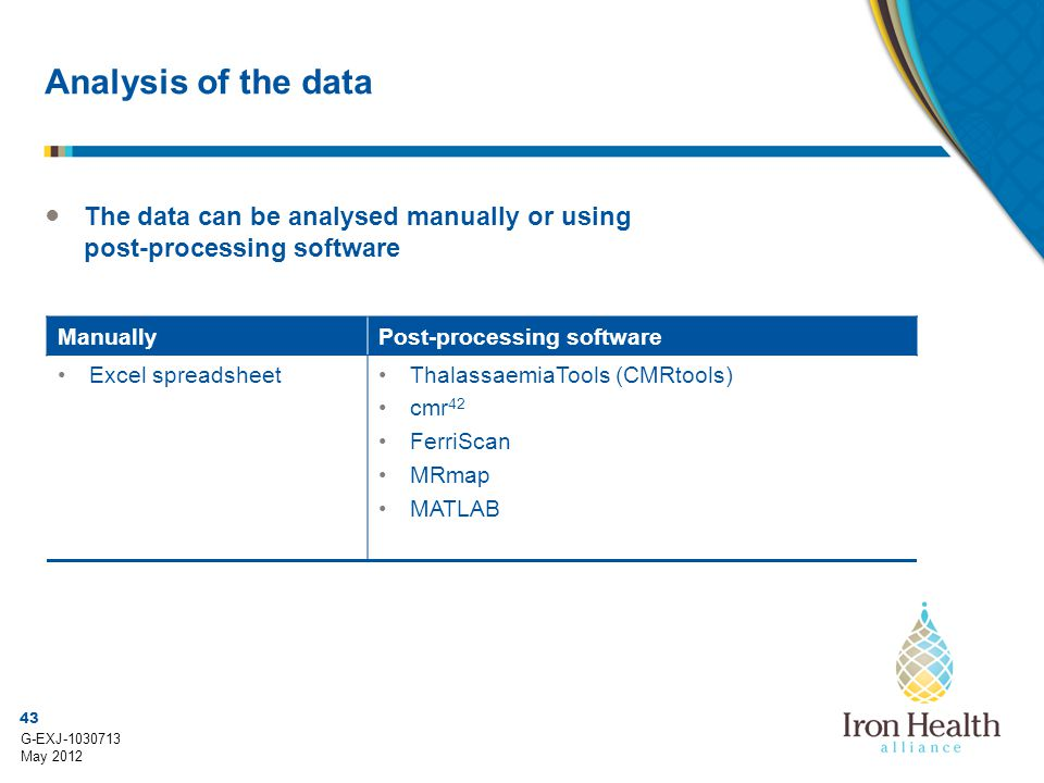 43 G-EXJ-1030713 May 2012 Analysis of the data ● The data can be analysed manually or using post-processing software ManuallyPost-processing software