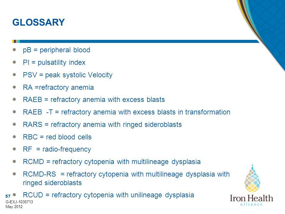 57 G-EXJ-1030713 May 2012 GLOSSARY ● pB = peripheral blood ● PI = pulsatility index ● PSV = peak systolic Velocity ● RA =refractory anemia ● RAEB = re