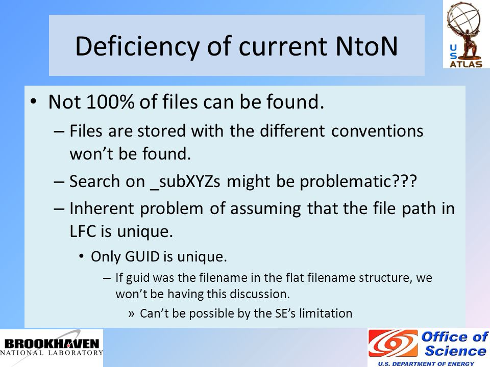 Deficiency of current NtoN Not 100% of files can be found.
