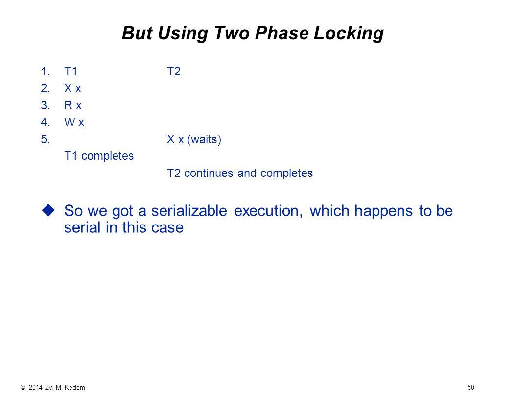 © 2014 Zvi M. Kedem 50 But Using Two Phase Locking 1.T1T2 2.X x 3.R x 4.W x 5.
