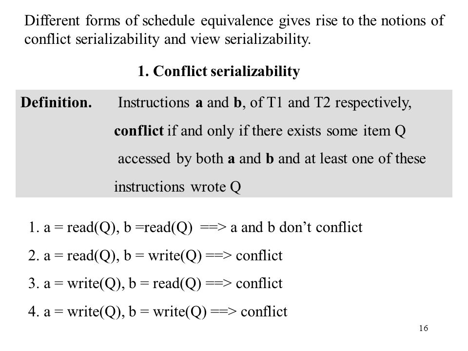 16 Different forms of schedule equivalence gives rise to the notions of conflict serializability and view serializability.