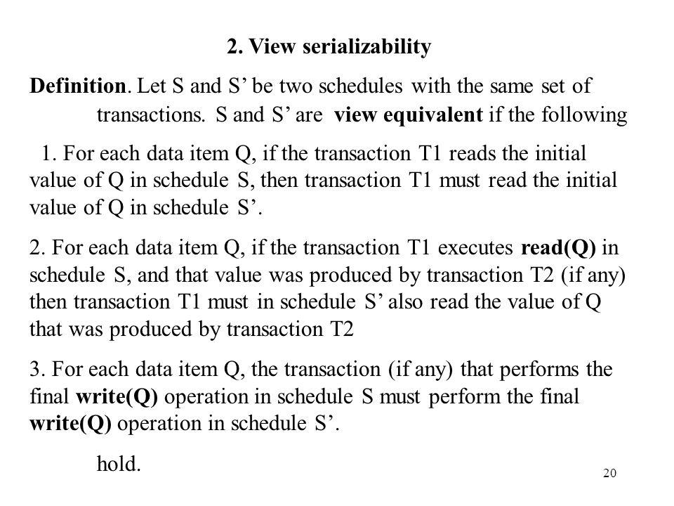 20 2. View serializability Definition.