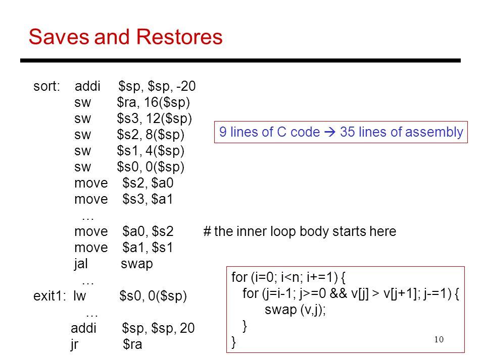 10 Saves and Restores sort: addi $sp, $sp, -20 sw $ra, 16($sp) sw $s3, 12($sp) sw $s2, 8($sp) sw $s1, 4($sp) sw $s0, 0($sp) move $s2, $a0 move $s3, $a1 … move $a0, $s2 # the inner loop body starts here move $a1, $s1 jal swap … exit1: lw $s0, 0($sp) … addi $sp, $sp, 20 jr $ra 9 lines of C code  35 lines of assembly for (i=0; i<n; i+=1) { for (j=i-1; j>=0 && v[j] > v[j+1]; j-=1) { swap (v,j); }