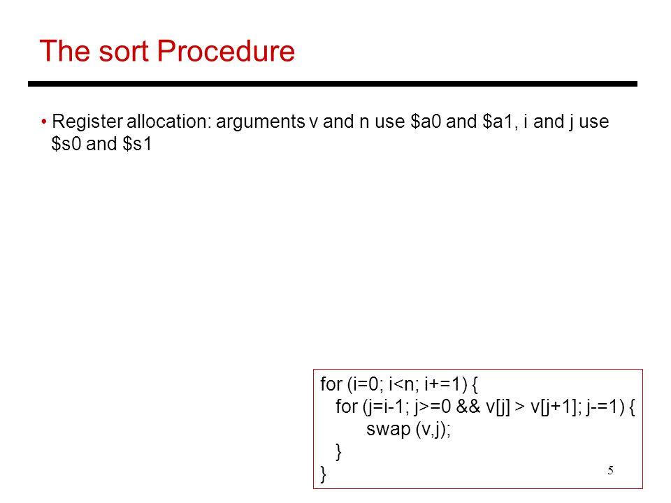 5 The sort Procedure Register allocation: arguments v and n use $a0 and $a1, i and j use $s0 and $s1 for (i=0; i<n; i+=1) { for (j=i-1; j>=0 && v[j] > v[j+1]; j-=1) { swap (v,j); }