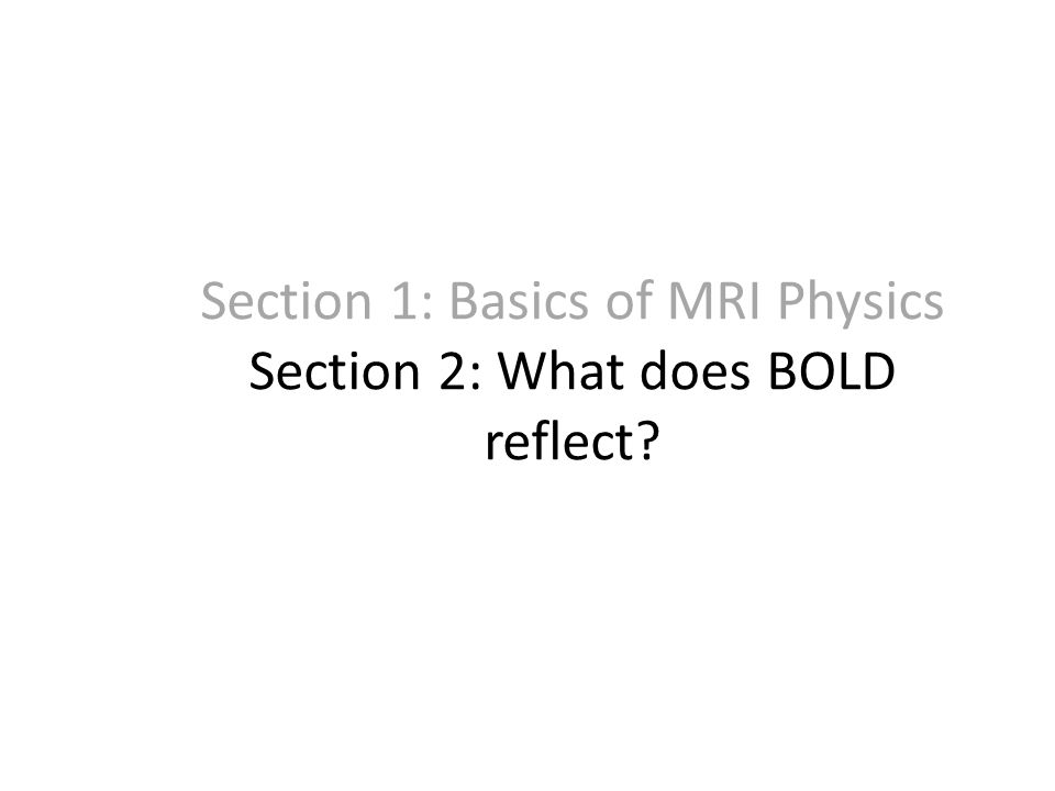 Section 1: Basics of MRI Physics Section 2: What does BOLD reflect?