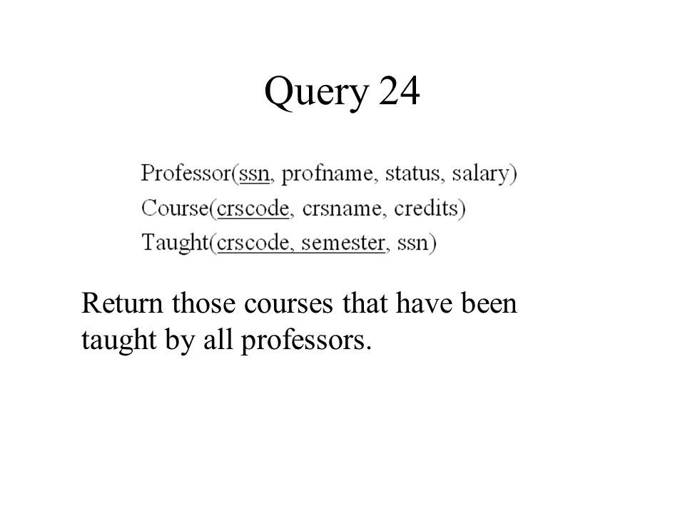 Query 24 Return those courses that have been taught by all professors.