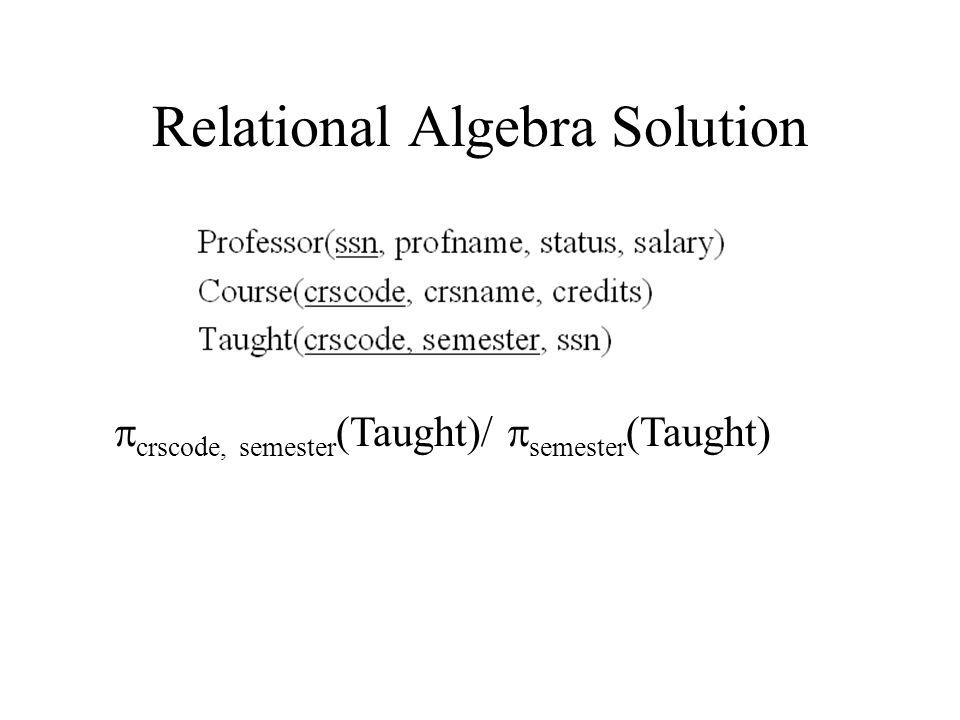 Relational Algebra Solution  crscode, semester (Taught)/  semester (Taught)