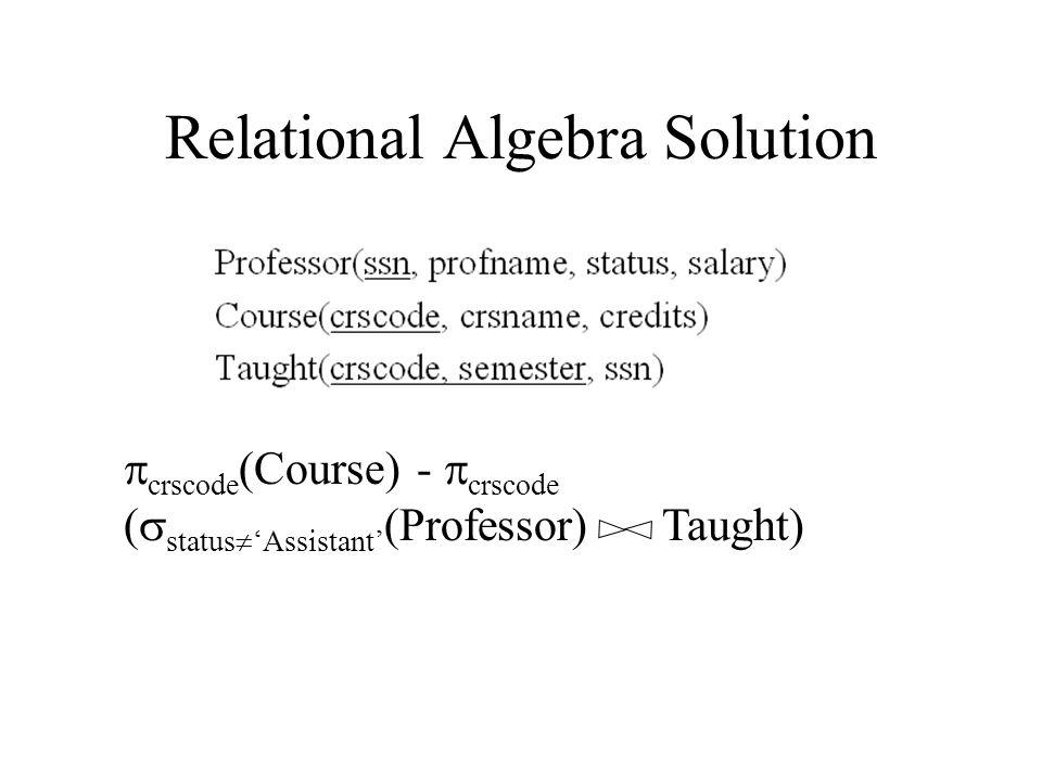 Relational Algebra Solution  crscode (Course) -  crscode (  status  'Assistant' (Professor) Taught)