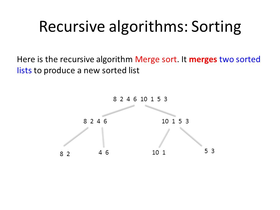 Recursive algorithms: Sorting Here is the recursive algorithm Merge sort.