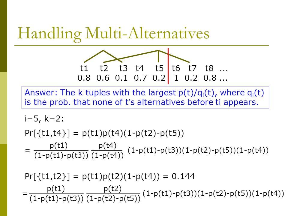 Handling Multi-Alternatives t1 t2 t3 t4 t5 t6 t7 t8...