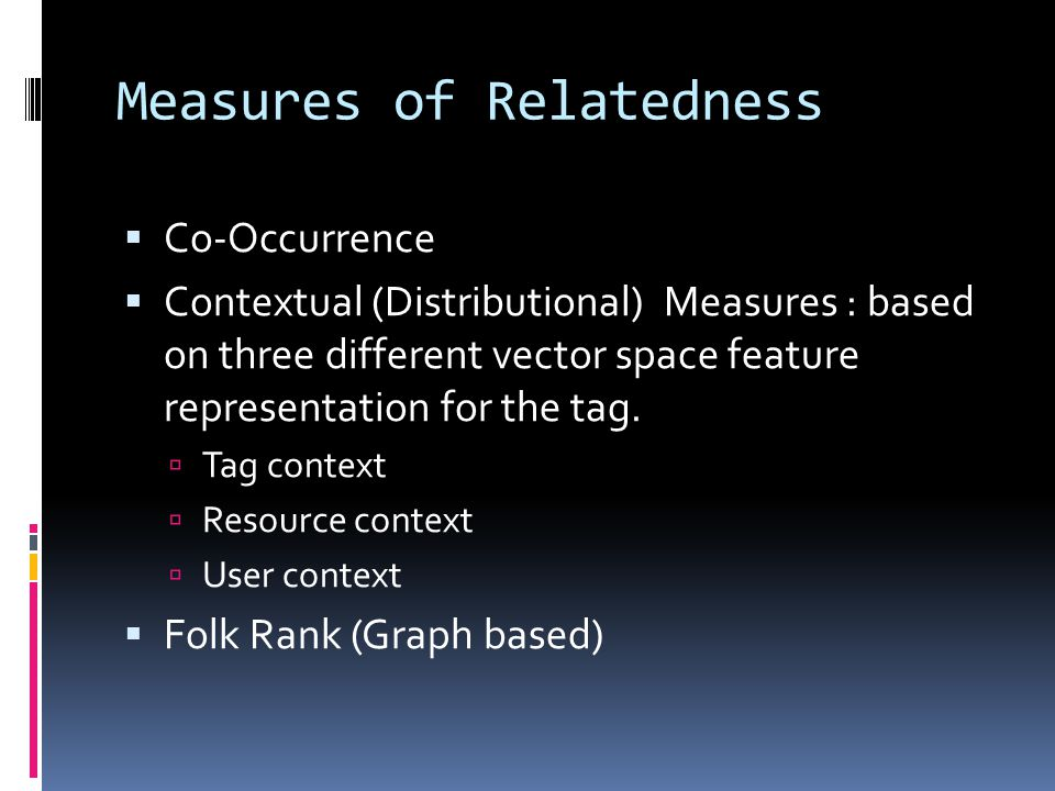 Measures of Relatedness  Co-Occurrence  Contextual (Distributional) Measures : based on three different vector space feature representation for the tag.