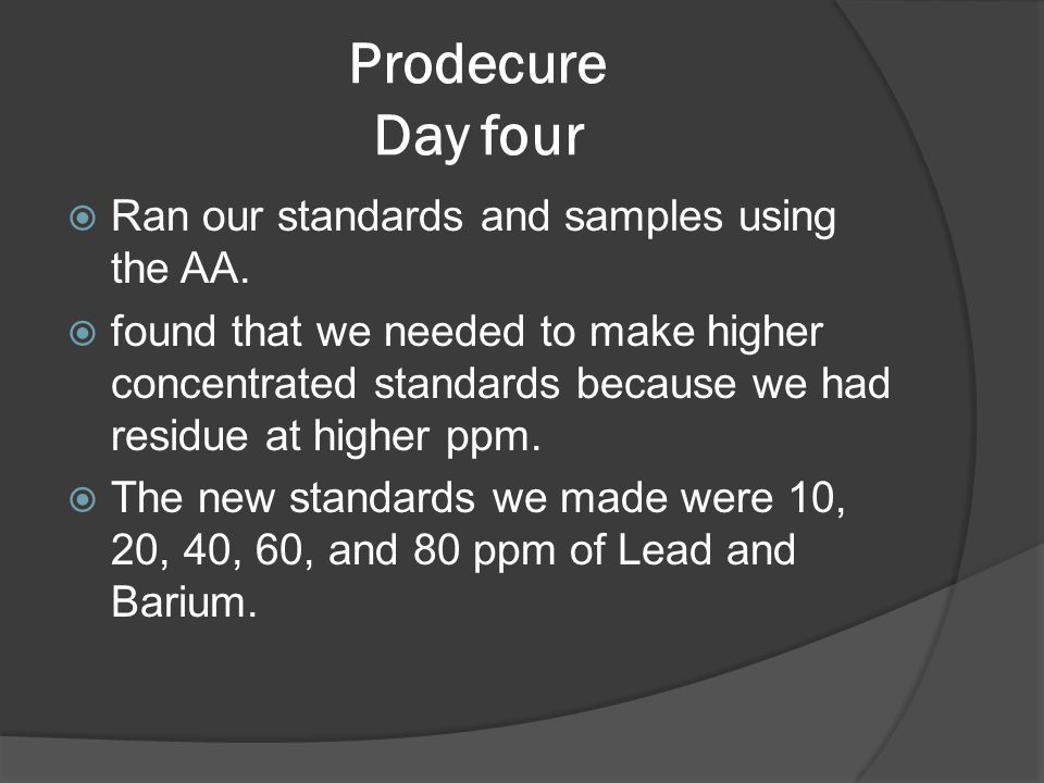 Prodecure Day four  Ran our standards and samples using the AA.