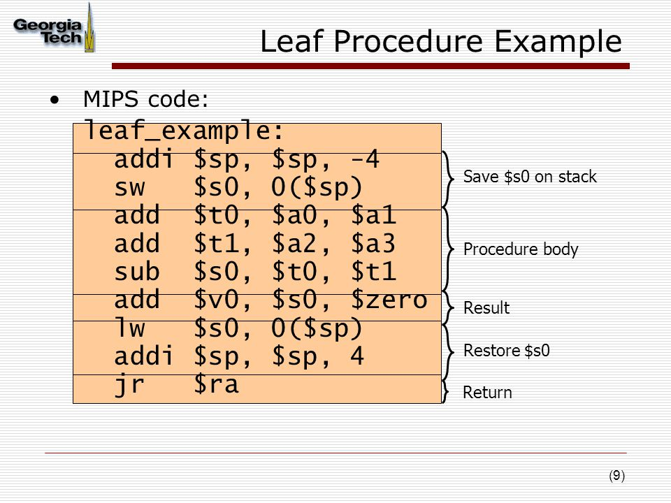 (9) Leaf Procedure Example MIPS code: leaf_example: addi $sp, $sp, -4 sw $s0, 0($sp) add $t0, $a0, $a1 add $t1, $a2, $a3 sub $s0, $t0, $t1 add $v0, $s0, $zero lw $s0, 0($sp) addi $sp, $sp, 4 jr $ra Save $s0 on stack Procedure body Restore $s0 Result Return