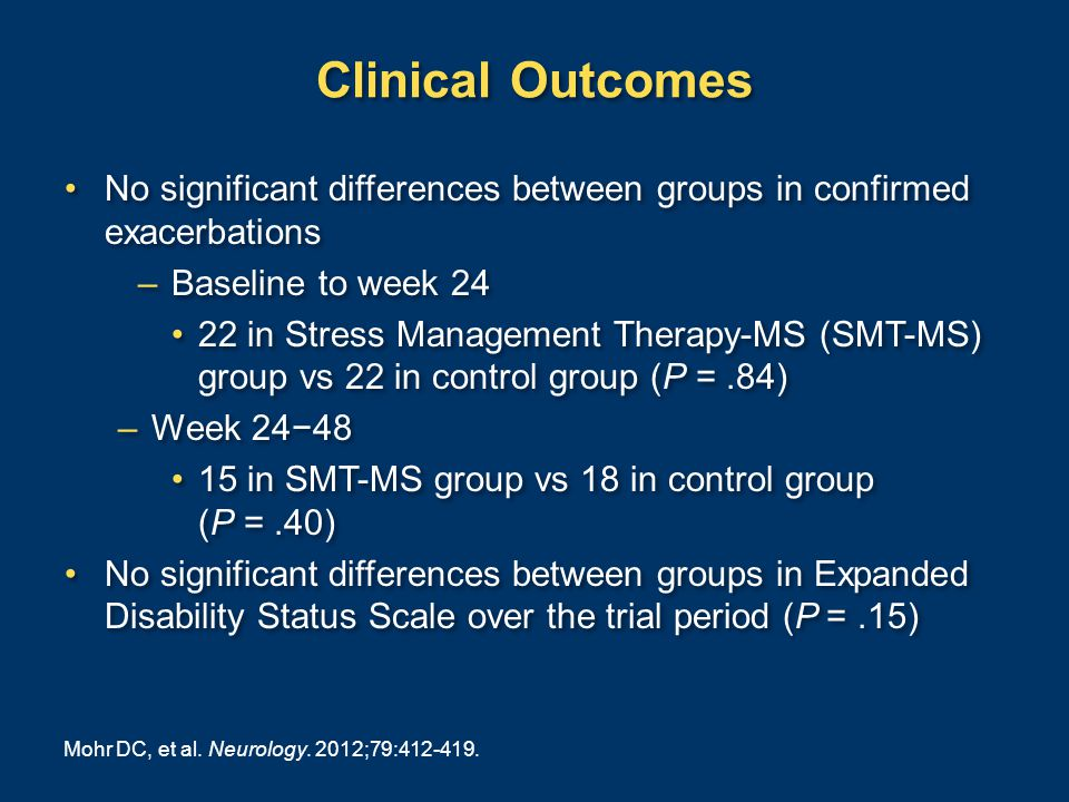 Clinical Outcomes No significant differences between groups in confirmed exacerbations –Baseline to week 24 22 in Stress Management Therapy-MS (SMT-MS