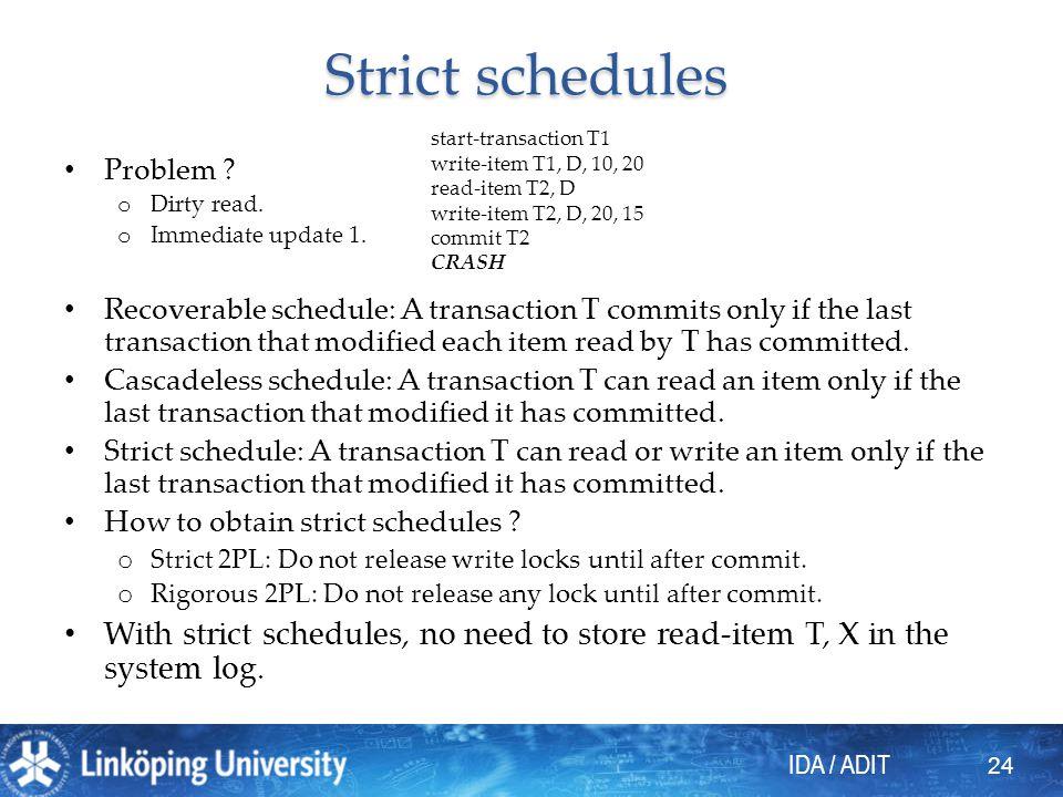 IDA / ADIT Strict schedules Problem . o Dirty read.