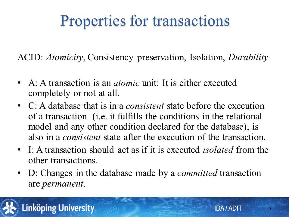 IDA / ADIT 16 System log start-transaction T1 write-item T1, D, 10, 20 commit T1 checkpoint start-transaction T4 write-item T4, B, 10, 20 write-item T4, A, 5, 10 commit T4 start-transaction T2 write-item T2, B, 20, 15 start-transaction T3 write-item T3, A, 10, 30 write-item T2, D, 20, 25 CRASH T1 T4 T2 T3 crash TIME Recovery: Example Recovery: Example T4 checkpoint