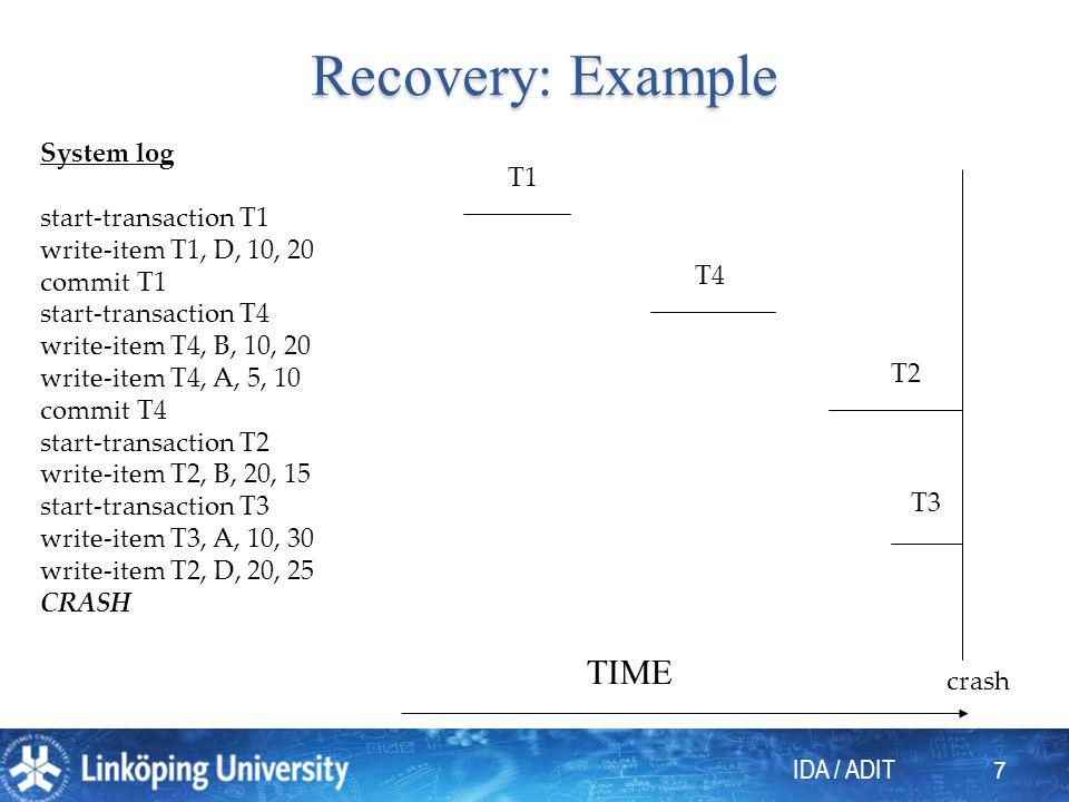 IDA / ADIT 8 Reasons for a crash 1.System crash. 2.