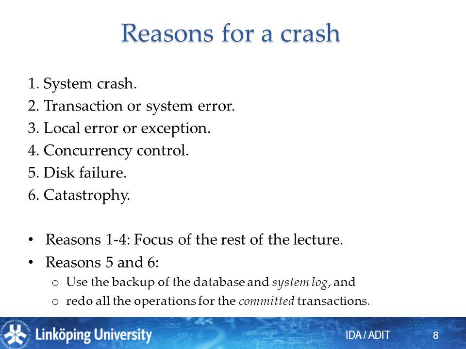 IDA / ADIT 8 Reasons for a crash 1. System crash.