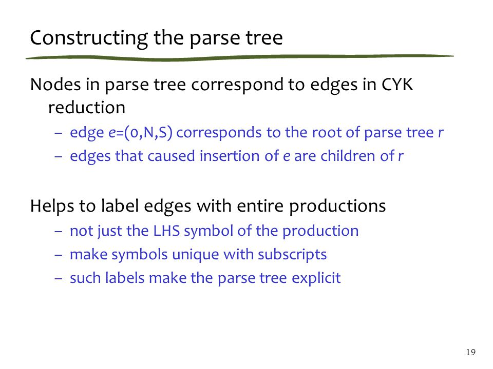 Constructing the parse tree Nodes in parse tree correspond to edges in CYK reduction –edge e=(0,N,S) corresponds to the root of parse tree r –edges that caused insertion of e are children of r Helps to label edges with entire productions –not just the LHS symbol of the production –make symbols unique with subscripts –such labels make the parse tree explicit 19