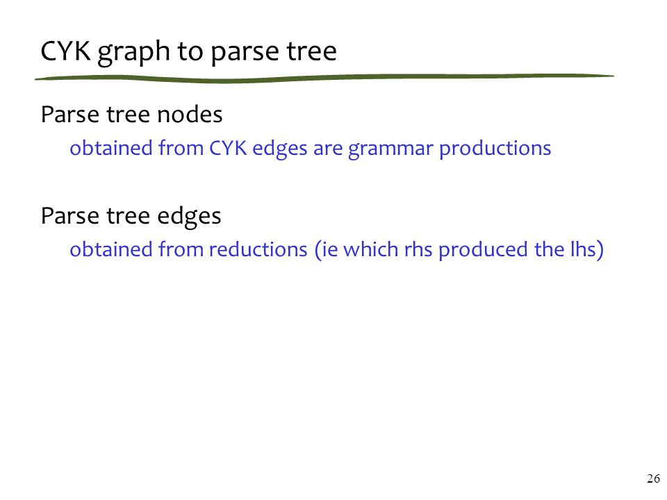 CYK graph to parse tree Parse tree nodes obtained from CYK edges are grammar productions Parse tree edges obtained from reductions (ie which rhs produced the lhs) 26