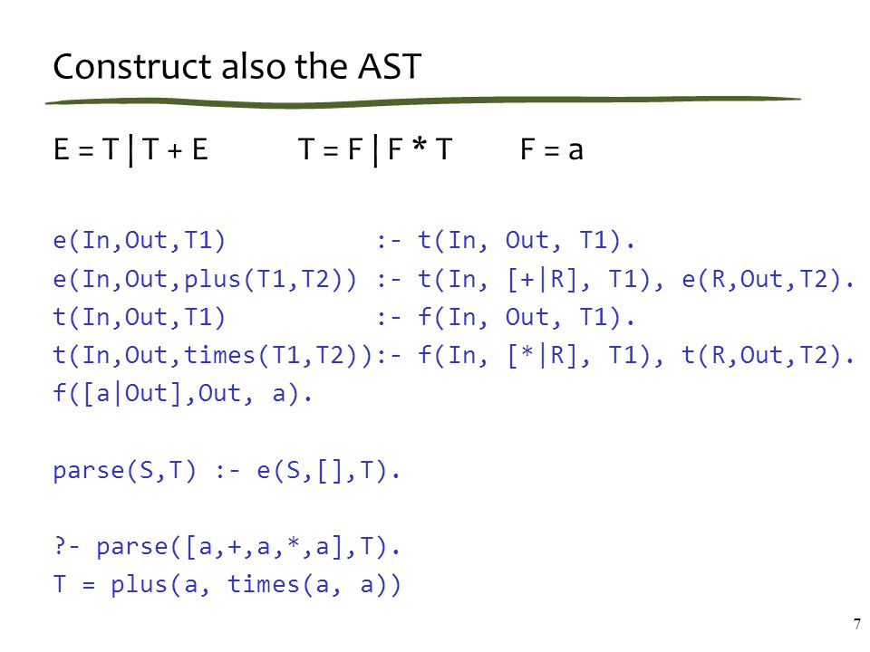 Prediction Prediction (def): determining which productions apply at current point of input performed top-down through the grammar by examining all possible derivation sequences this will tell us which non-terminals we can use in the tree (starting at the current point of the string) we will do prediction not only at the beginning of parsing but at each parsing step