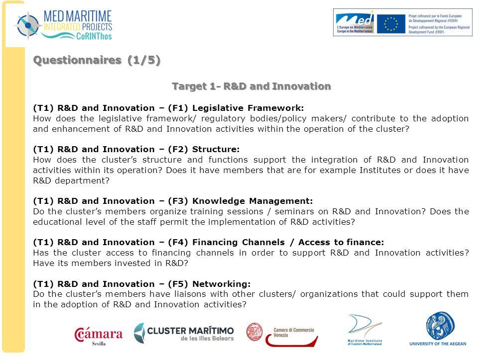 Target 1- R&D and Innovation (T1) R&D and Innovation – (F1) Legislative Framework: How does the legislative framework/ regulatory bodies/policy makers