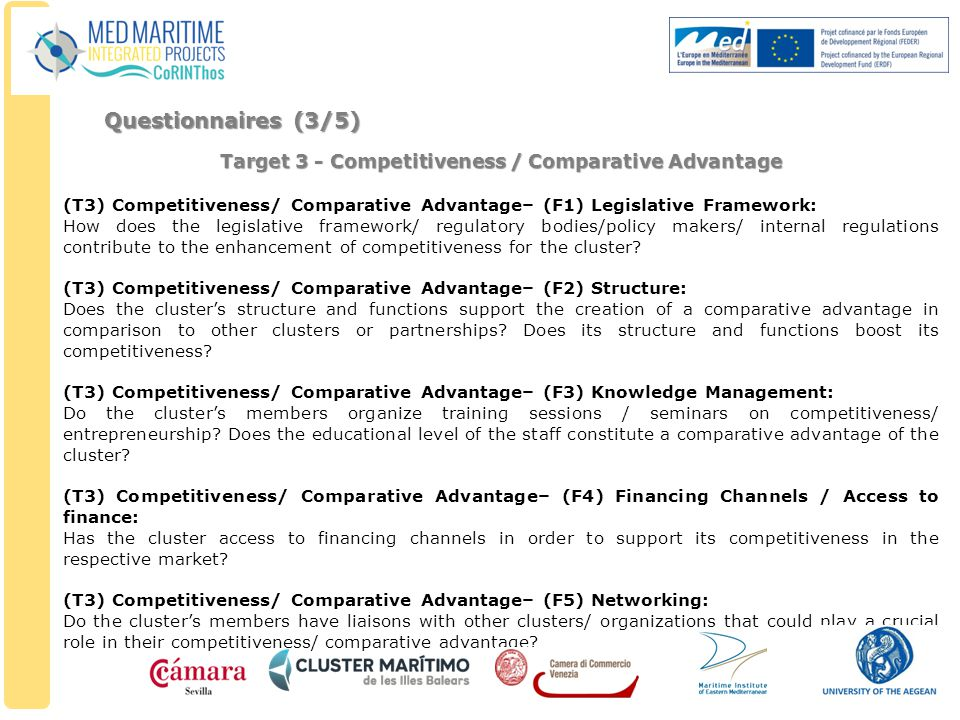 Target 3 - Competitiveness / Comparative Advantage (T3) Competitiveness/ Comparative Advantage– (F1) Legislative Framework: How does the legislative framework/ regulatory bodies/policy makers/ internal regulations contribute to the enhancement of competitiveness for the cluster.