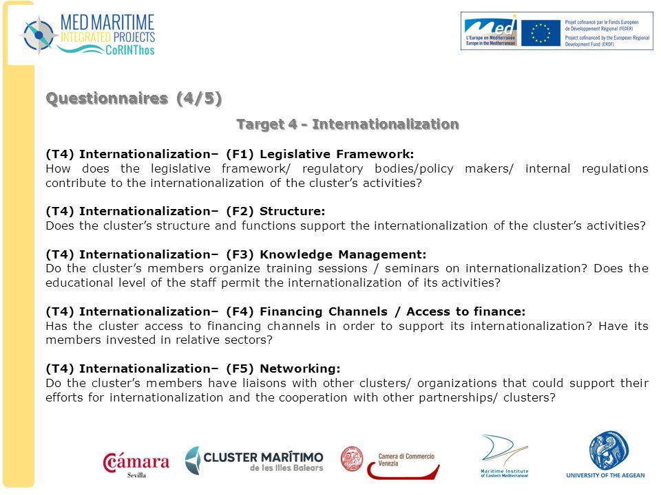 Target 4 - Internationalization (T4) Internationalization– (F1) Legislative Framework: How does the legislative framework/ regulatory bodies/policy ma
