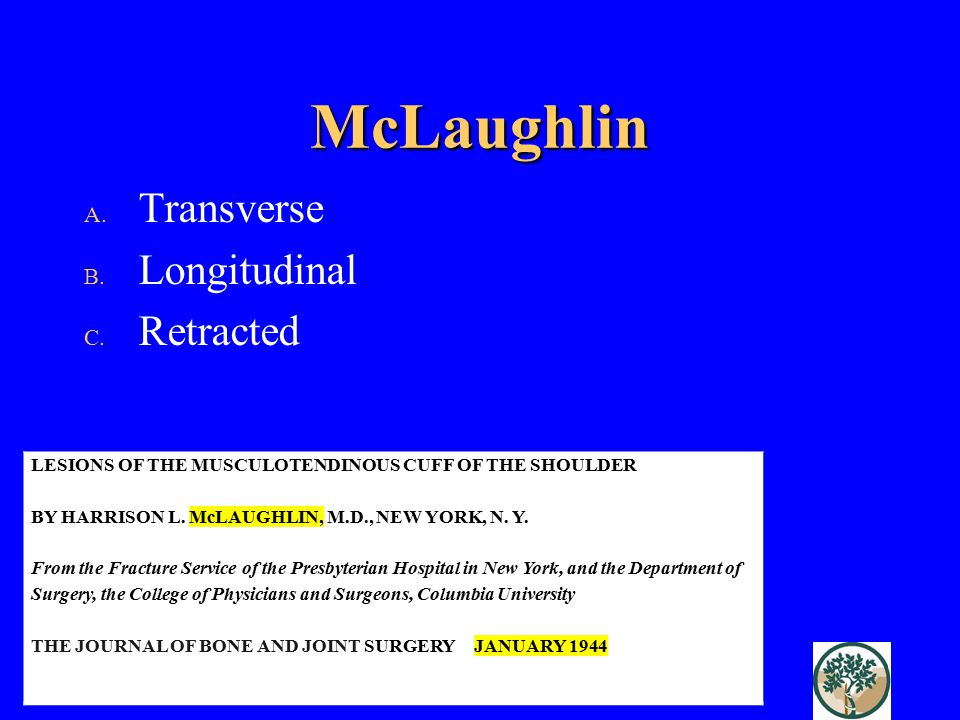 McLaughlin LESIONS OF THE MUSCULOTENDINOUS CUFF OF THE SHOULDER BY HARRISON L.