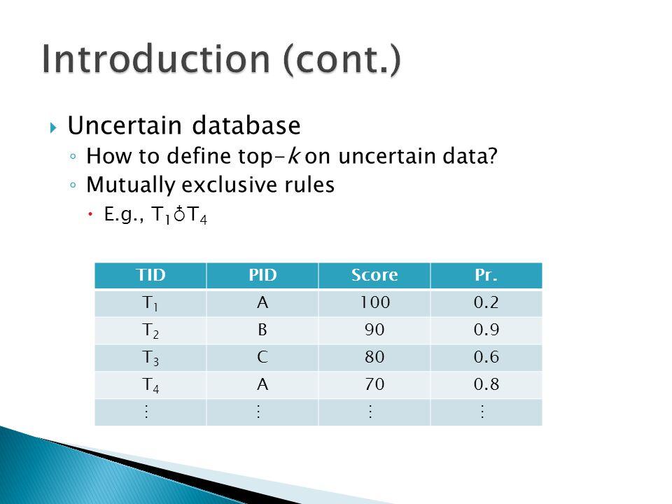  Uncertain database ◦ How to define top-k on uncertain data.