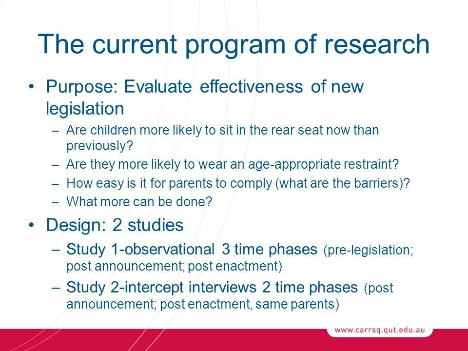 Acknowledgements Australian Research Council Royal Automotive Club of Queensland