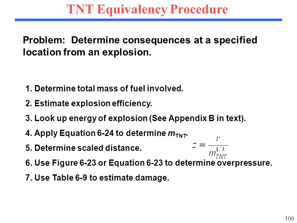 100 TNT Equivalency Procedure 1. Determine total mass of fuel involved.