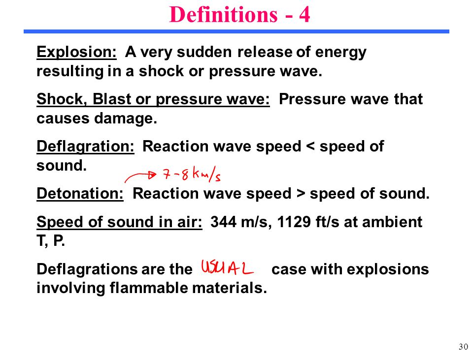 30 Explosion: A very sudden release of energy resulting in a shock or pressure wave.