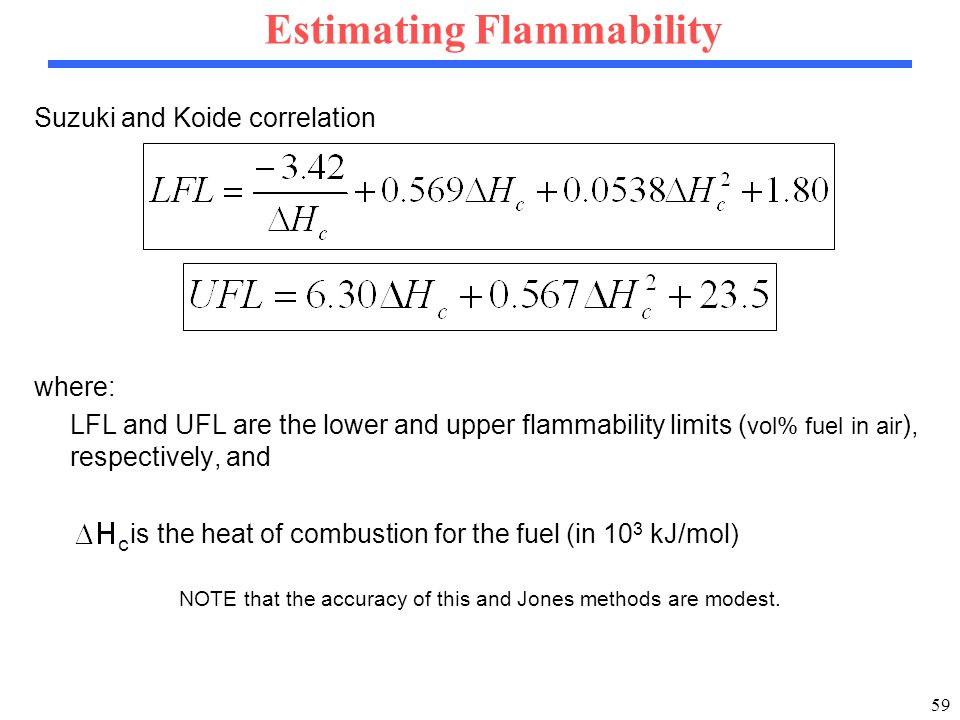 59 Estimating Flammability Suzuki and Koide correlation where: LFL and UFL are the lower and upper flammability limits ( vol% fuel in air ), respectively, and is the heat of combustion for the fuel (in 10 3 kJ/mol) NOTE that the accuracy of this and Jones methods are modest.