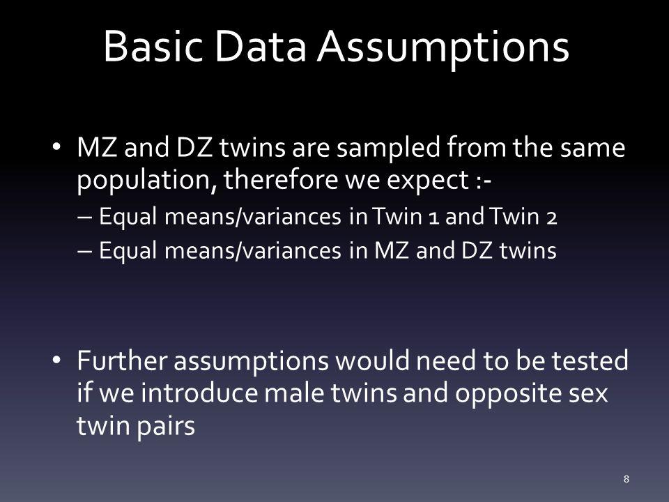 Estimates 19 T1T2T1T2 Equate Means & Variances across Twin Order meanMZ21.35 DZ21.45 covT10.76T10.79 T20.590.76T20.240.79 Equate Means Variances across Twin Order & Zygosity meanMZ21.39 DZ21.39 covT10.78T10.78 T20.610.78T20.230.78