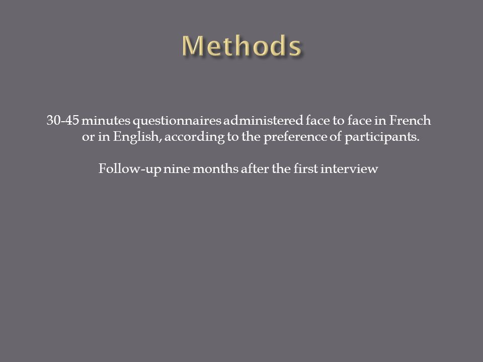 30-45 minutes questionnaires administered face to face in French or in English, according to the preference of participants.