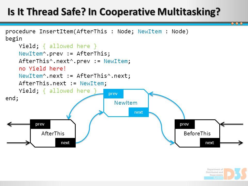 Is It Thread Safe? In Cooperative Multitasking? next prev AfterThis next prev NewItem next prev BeforeThis procedure InsertItem(AfterThis : Node; NewI
