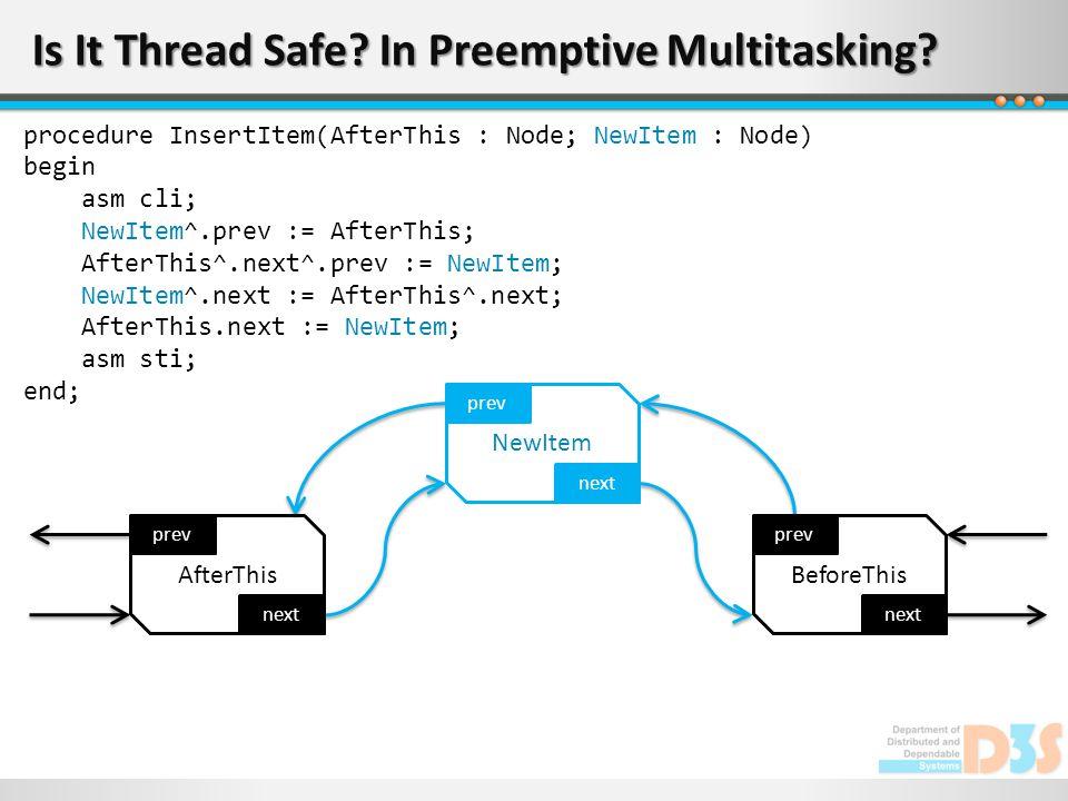 Is It Thread Safe? In Preemptive Multitasking? next prev AfterThis next prev NewItem next prev BeforeThis procedure InsertItem(AfterThis : Node; NewIt