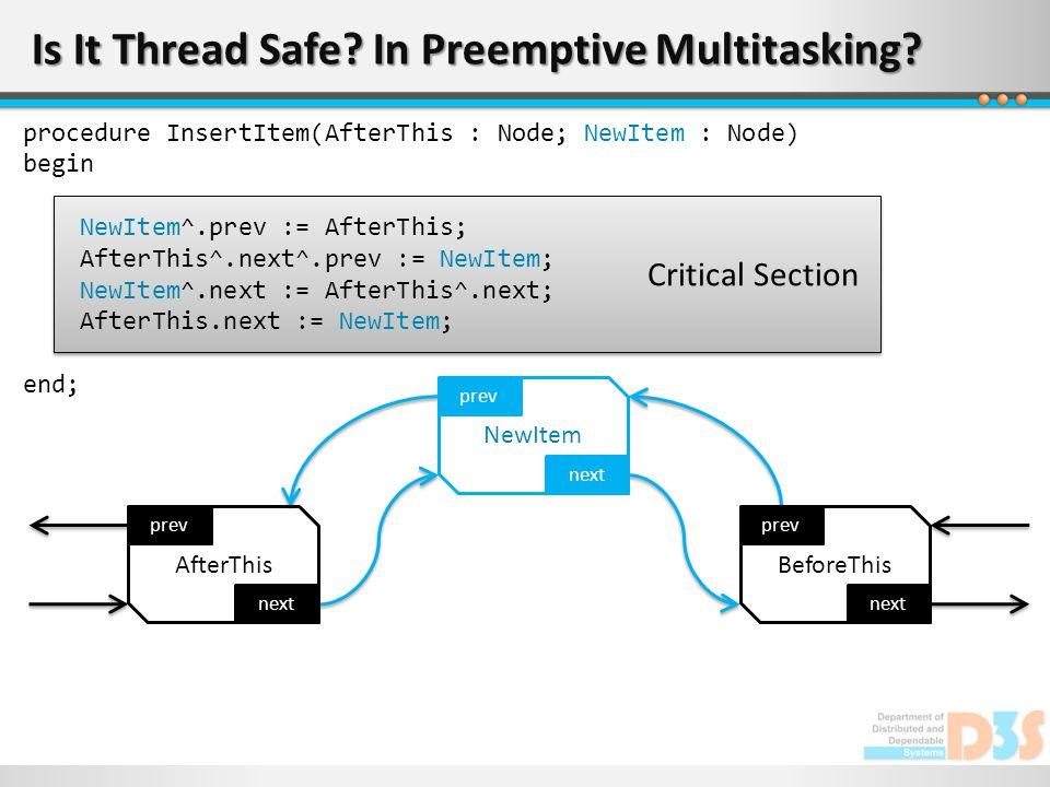 Critical Section Is It Thread Safe? In Preemptive Multitasking? next prev AfterThis next prev NewItem next prev BeforeThis procedure InsertItem(AfterT