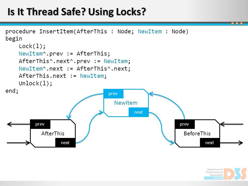 Is It Thread Safe? Using Locks? next prev AfterThis next prev NewItem next prev BeforeThis procedure InsertItem(AfterThis : Node; NewItem : Node) begi