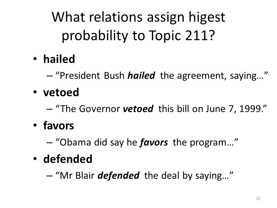 What relations assign higest probability to Topic 211.