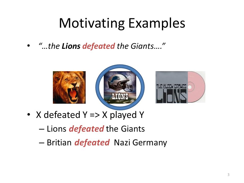 Motivating Examples …the Lions defeated the Giants…. X defeated Y => X played Y – Lions defeated the Giants – Britian defeated Nazi Germany 3