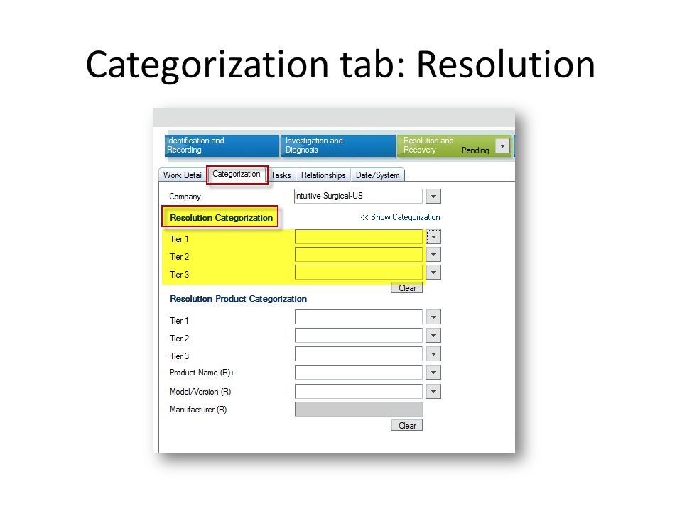 Categorization tab: Resolution