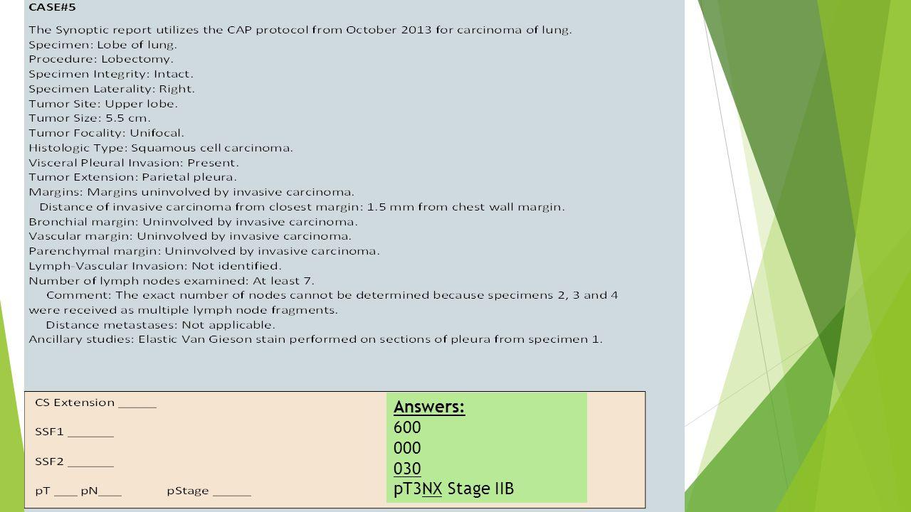 Answers: 600 000 030 pT3NX Stage IIB
