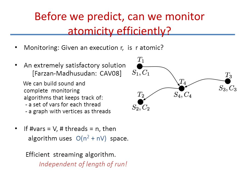 Before we predict, can we monitor atomicity efficiently? Monitoring: Given an execution r, is r atomic? An extremely satisfactory solution [Farzan-Mad