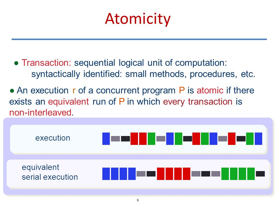 Atomicity ● An execution r of a concurrent program P is atomic if there exists an equivalent run of P in which every transaction is non-interleaved.