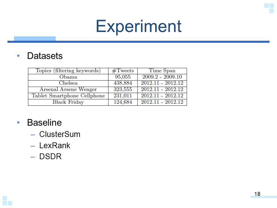 Experiment Datasets Baseline –ClusterSum –LexRank –DSDR 18