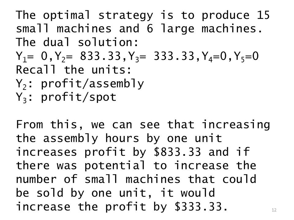 The optimal strategy is to produce 15 small machines and 6 large machines.